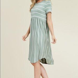 Sage Striped Dress
